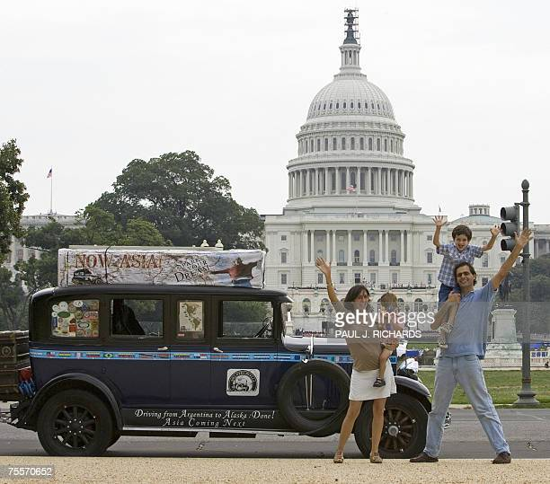 Candelaria and Herman Zapp and their children Pampa and Tehue 1 1/2 stand next to their 1928 GrahamPage automobile 19 July 2007 near the US Capitol...