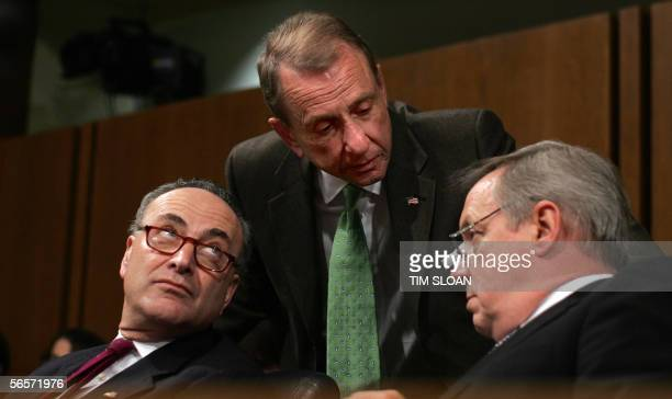 Chairman of the Senate Judiciary Committee Senator Arlen Specter RPA confers with committee members Senator Charles Schumer DNY and Senator Dick...