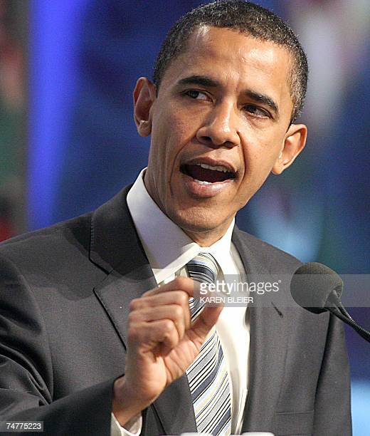Democratic presidential hopeful Sen Barack Obama of Illinois addresses the American Federation of State County and Municipal Employees during its...