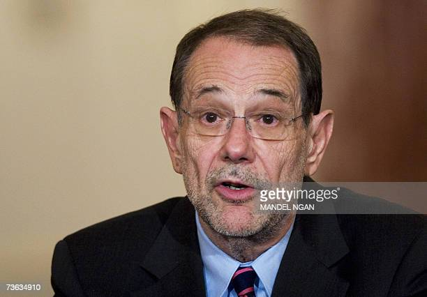 EU foreign policy supremo Javier Solana speaks during a press conference with US Secretary of State Condoleezza Rice 19 March 2007 in the Benjamin...