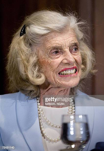 Washington, UNITED STATES: Eunice Kennedy Shriver, the mother-in-law of California Governor Arnold Schwarzenegger, smiles during a lunch at the...