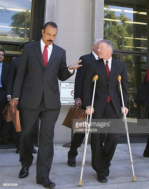 Former Chief of Staff for US Vice President Dick Cheney I Lewis Scooter Libby walks out of US District Court in Washington DC 03 November 2005 with...
