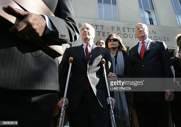 Former Chief of Staff for US Vice President Dick Cheney I Lewis Scooter Libby and his wife Harriet Grant stand outside US District Court in...