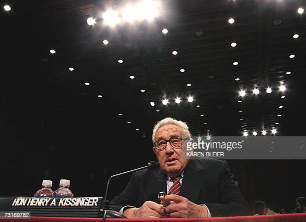 Former Secretary of State Henry Kissinger prepares to testify before the US Senate Foreign Relations Committee 31 January 2007 The committe is...