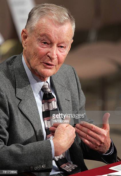 Former US National Security Adviser Zbigniew Brzezinski testifies before the Senate Foreign Relations Committee during a hearing on the situation in...