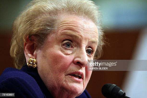 Former US Secretary of State Madeleine Albright testifies during hearings on Iraq by the US Senate Foreign Relations Committee 31 January 2007 on...