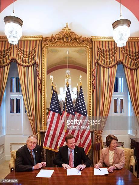 From left Senate Majority Leader Harry Reid DNV Senator Jim Webb DVA and Speaker of the House of Representatives Nancy Pelosi DCA pose for a photo 23...