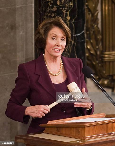 Washington, UNITED STATES: House Speaker Nancy Pelosi, D-CA, holds the speaker's gavel as she speaks 04 January 2007 during the 110th Congress...