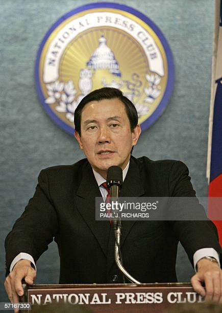 Washington, UNITED STATES: Ma Ying-jeou, Taipei mayor and chairman of the Nationalist Party in Taiwan, speaks at the National Press Club in...