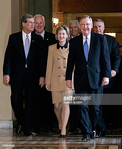 Members of the newlyelected US Senate Republican leadership walk to a news conference following voting among the party on Capitol Hill in Washington...
