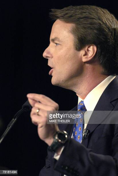 Presidential candidate John Edwards addreses the Democratic National Committee's Winter Meetings 02 February 2007 in Washington Many of the expected...