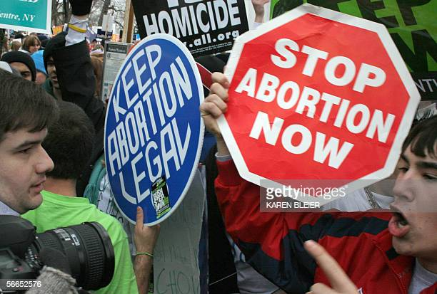 Prolife demonstrators confront prochoice counterparts 23 January 2006 in Washington DC as tens of thousands of prolife and prochoice opponents rally...