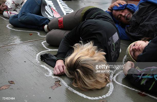 Prolife demonstrators participate in a diein outside the US Supreme Court in Washington DC 08 November 2006 as the court hears oral arguments in the...