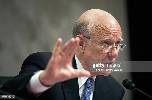 Washington, UNITED STATES: Senate Intelligence Committee Chairman Senator Pat Roberts asks questions during a full committee hearing of the Senate...