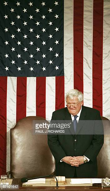 Speaker of the House of Representatives Dennis Hastert waits for the arrival of US VicePresident Dick Cheney to start proceedings shortly before the...