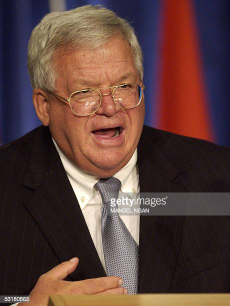 Speaker of the US House of Representative Dennis Hastert makes his address during the plenary session of the Organization for Security and...