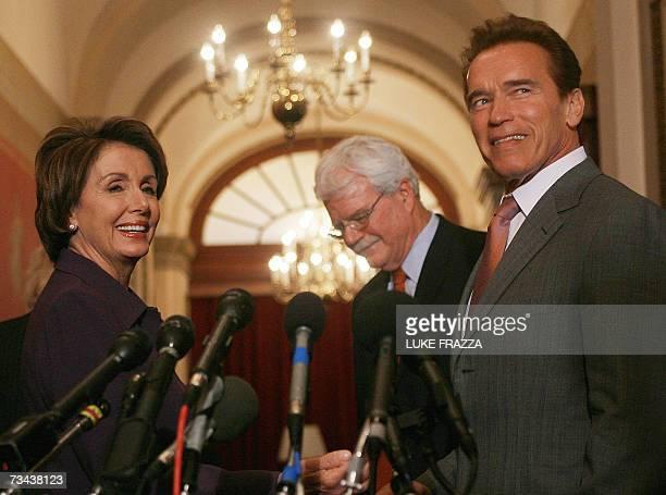 Speaker of the US House of Representatives Nancy Pelosi DCA and California Governor Arnold Schwarzenegger speak to reporters outside Pelosi's office...