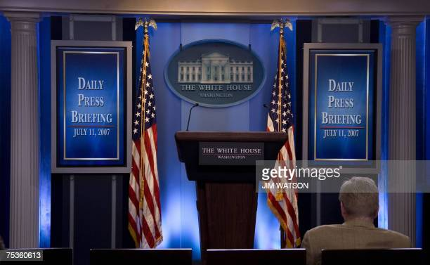 The James Brady Press Room beforeis seen before White House press secretay Tony Snow gave the first daily briefing in the newly renovated briefing...