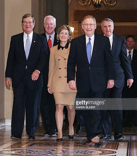 The newly elected Republican leadership US Senators Trent Lott from Mississippi John Cornyn from Texas Kay Bailey Hutchinson from Texas Mitch...