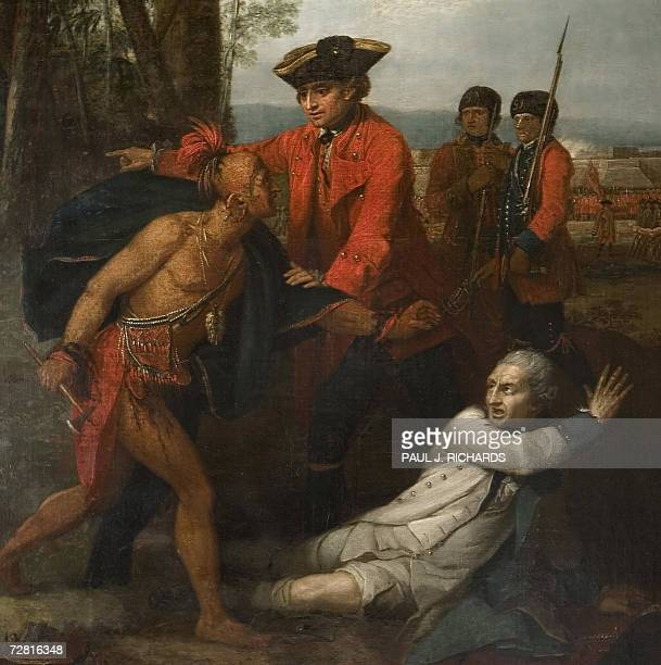 The painting General Johnson Saving a Wounded French Officer oil on cannvas by Benjamin West c 17641768 on display 13 December 2006 part of the newly...