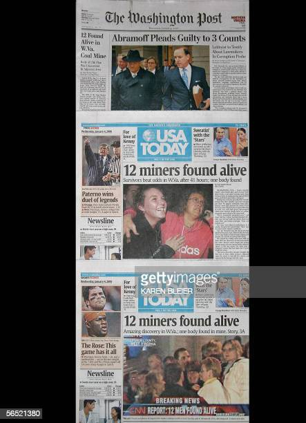 This 04 January 2006 photo shows the front pages of The Washington Post and two editions of the USA Today all three carrying stories of twelve of...
