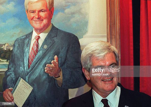 This 15 November 2000 file photo shows former House Speaker Newt Gingrich during a visit to the US Capitol for the unveiling of Gingrich's official...