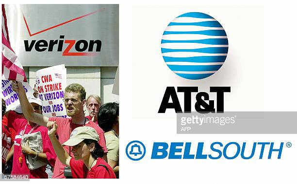This combination image shows the logos of telephone companies ATT BellSouth and Striking Verizon Communications workers at a rally held outside...