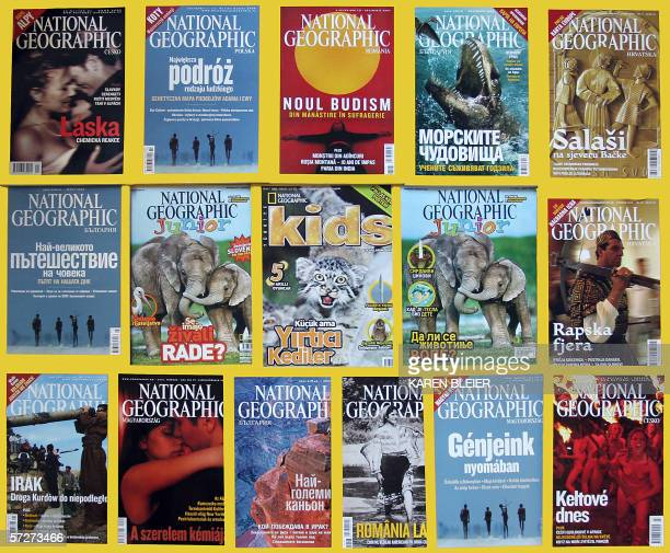 TO GO WITH AFP STORY AFPLifestyleUSmedia schedFEATURE This 04 April 2006 photo illustration shows copies of National Geographic magazine in several...