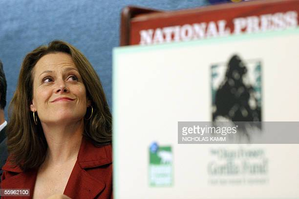 US actress and honorary chair of the Dian Fossey Gorilla Fund International Sigourney Weaver looks at the fund's Vice President for Africa Programs...