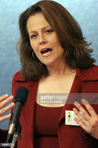 US actress and honorary chair of the Dian Fossey Gorilla Fund International Sigourney Weaver addresses a press conference 19 October at the National...