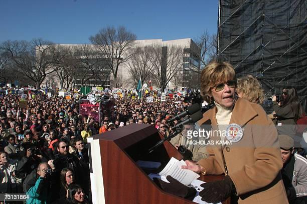 Washington, UNITED STATES: US actress Jane Fonda addresses an anti-war demonstration on the National Mall in Washington 27 January 2007. The Vietnam...