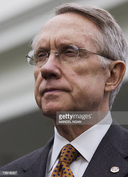 US Democratic Senate Majority Leader Harry Reid speaks to the press 18 April 2007 following a meeting with US President George W Bush at the White...
