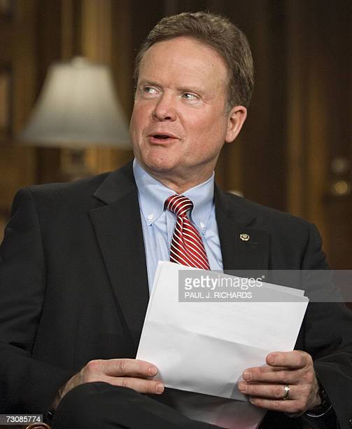US Democratic Senator from Virginia Jim Webb rehearses the Democratic response US President's George W Bush's State Of The Union speech which he will...