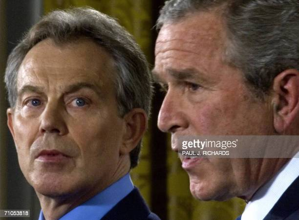 US President George W Bush and British Prime Minister Tony Blair conduct a joint press conference 25 May 2006 in the East Room of the White House AFP...