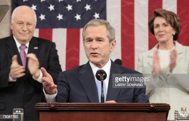 US President George W Bush is applauded during his annual State of the Union address 23 January 2007 in the House Chamber of the US Capitol in...