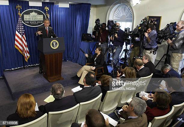Washington, UNITED STATES: US President George W. Bush speaks during a press conference in the Brady Briefing Room 21 March 2006 of the White House...