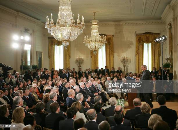 Washington, UNITED STATES: US President George W. Bush speaks during a press conference in the East Room of the White House 06 September 2006 in...
