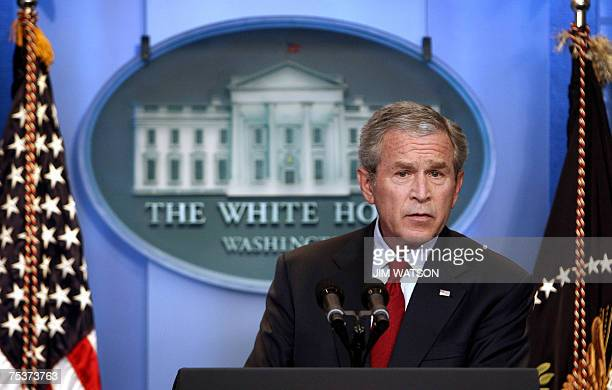 US President George W Bush speaks during a press conference in the James Brady Press Briefing Room at the White House 12 July 2007 Bush said Thursday...