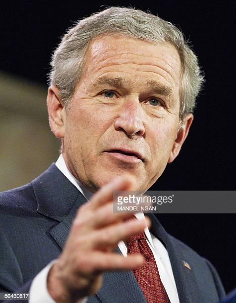 Washington, UNITED STATES: US President George W. Bush speaks during an address at the Woodrow Wilson Center 14 December 2005 in Washington, DC. Bush...