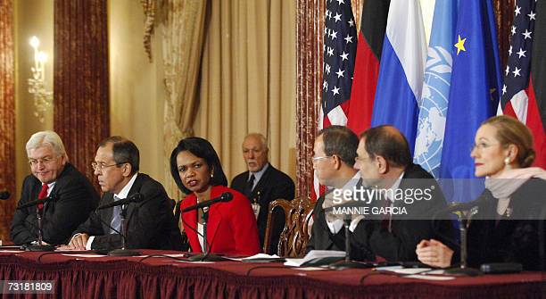 Washington, UNITED STATES: US Secretary of State Condoleezza Rice holds a press conference following a meeting of the Quartet principals German...