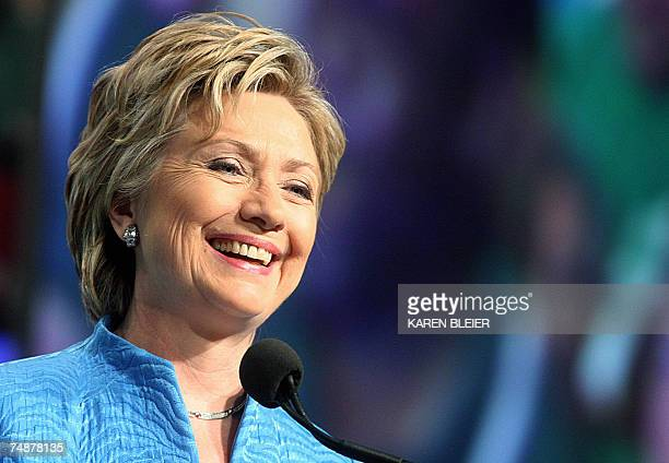 US Sen and 2008 Democratic presidential candidate Hillary Clinton addresses more than 2000 members of the American Federation of State County and...