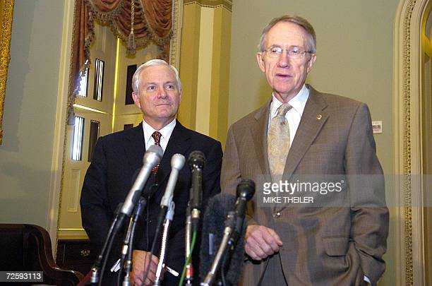 US Sen Harry Reid DNV speaks to the press with Defense Secretary nominee Robert Gates on Capitol Hill 17 November 2006 in Washington DC Former CIA...