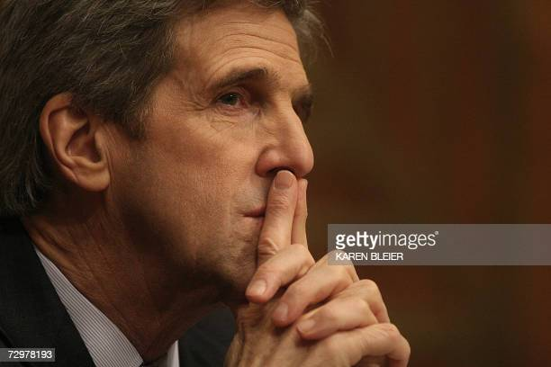 US Sen John Kerry DMA listens to testimony given by US Secretary of State Condoleezza Rice during US Senate Foreign Relations Committee hearings 11...