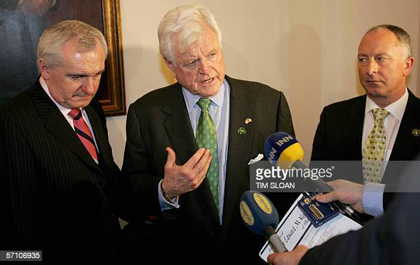 US Senator Ted Kennedy DMA holds a press briefing on the progress of peace in Ireland with Irelands Taoiseach Bertie Ahern and Irish Minister for...