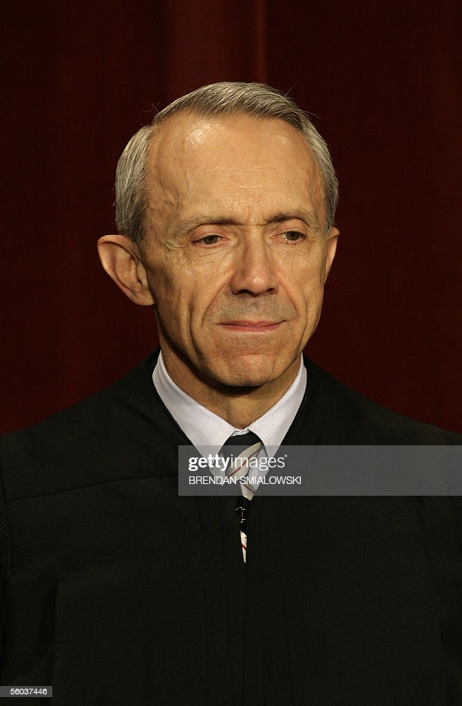 US Supreme Court Justice David Souter sits for a class photo at the Supreme Court 31 October, 2005 in Washington, DC. The Justices sat for their picture for Chief Justice Roberts's first class photo. AFP PHOTO/Brendan SMIALOWSKI
