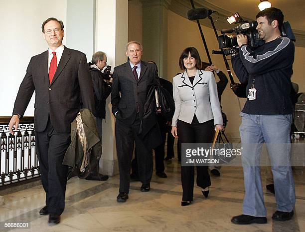 US Supreme Court justice nominee Samuel Alito looks on as he departs the Russell Senate Office Building in Washington DC 27 January 2006 after...