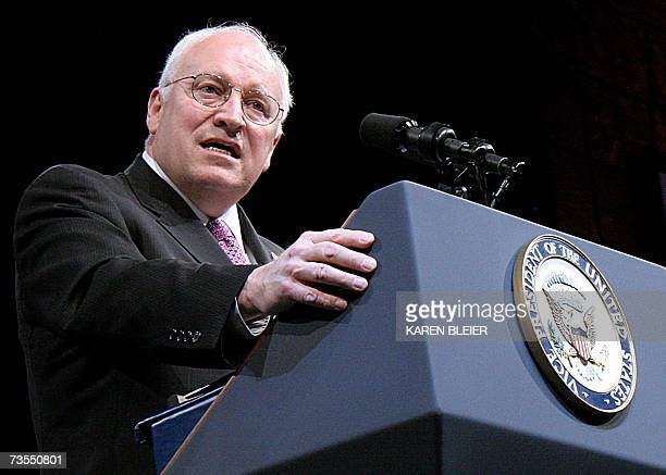 US Vice President Dick Cheney speaks at the American Israel Publlic Affairs Committee 2007 Policy Conference 12 March 2007 in Washington DC America's...