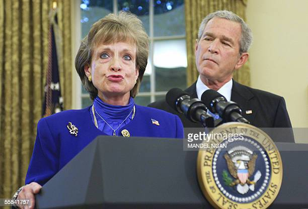 Washington, UNITED STATES: White House Counsel Harriet Miers speaks after being nominated by US President George W. Bush to the Supreme Court 03...