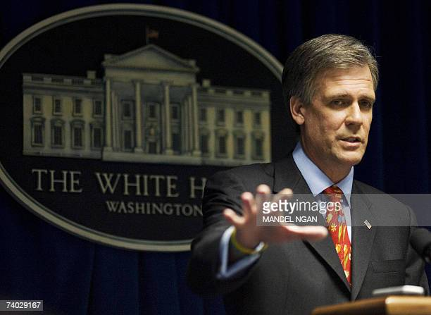 White House Press Secretary Tony Snow speaks to the press in the briefing room of the White House 30 April 2007 in Washington DCfive weeks after...