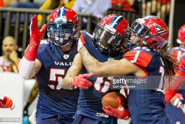 Washington Valor defensive back Tracy Belton after scoring a touchdown during an Arena Football League game between the Washington Valor and the...